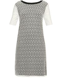 Rumour London Donna Lace Overlay Dress Sheer Sleeves - White