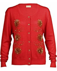 Asneh Red Krystle Cashmere Cardigan