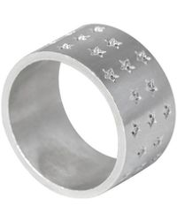 Edge Only Galaxy Ring Silver | An Extra Wide Star Statement Ring - Metallic