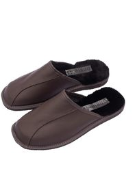 ONAIE Mens Leather Sheepskin Mules - Brown