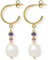 Vintouch Italy Seas & Sparks Blue Pink Hoop Earrings - Multicolor