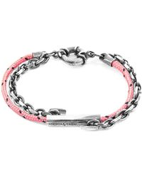 Anchor & Crew - Pink Belfast Silver & Rope Bracelet - Lyst