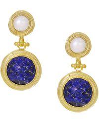 Ottoman Hands Lilis Pearl & Lapis Woven Gold Drop Earrings - Metallic