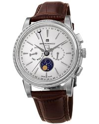 Bruno Magli Mens Limited Edition Swiss Made Multi-function Moonphase Watch With Italian Leather Strap - Multicolour