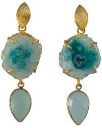 Magpie Rose Aqua Double Drop Cocktail Earrings - Blue
