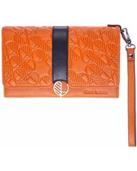 Drew Lennox - Orange & Black English Leather Clutch Bag Travel Wallet - Lyst