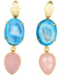 Magpie Rose Blue Agate & Pink Chalcedony Cocktail Earrings