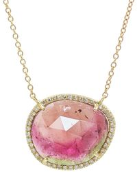 KAMARIA Watermelon Tourmaline Necklace With Diamonds - Multicolour