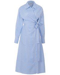 Nocturne Wrap Poplin Dress - Blue