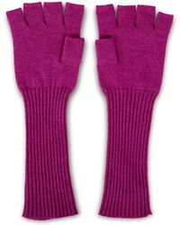 Asneh Fallon Long Fingerless Cashmere Silk Gloves In Purple