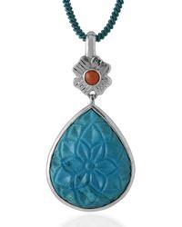 Emma Chapman Jewels Aztec Coral Turquoise Pendant - Blue