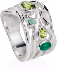 Neola Sterling Silver Cocktail Ring With Peridot & Green Onyx & Green Amethyst Gemstones Liana - Metallic