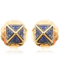 Artisan 18k Gold Spike Earring With Blue Sapphire Gemstone Jewellery - Metallic