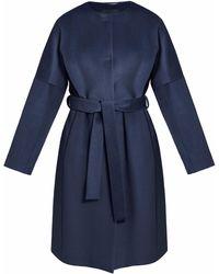 InAvati - Light Italian Wool Coat Navy Blue - Lyst