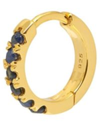 Northskull Blue Sapphire Hoop Earring In Gold - Metallic