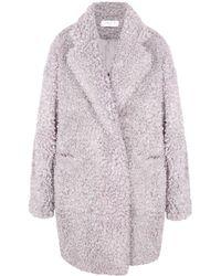 Paisie Fluffy Teddy Bear Coat In Lilac - Purple