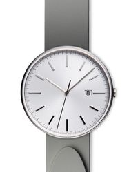 Uniform Wares Men's M40 Precidrive Three-hand Date Watch In Brushed Steel With Nitrile Grey Rubber Strap - Metallic