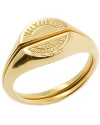 No 13 Solid Gold Sun & Moon Signet Rings - Metallic