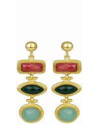 Ottoman Hands Innana Gemstone Drop Earrings With Ruby, Emerald And Aqua Chalcedony - Metallic