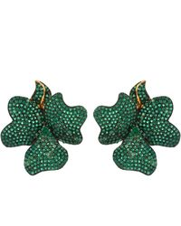 LÁTELITA London Flower Large Stud Earrings Gold Emerald Green