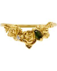 Lee Renee - Rose Chevron Ring Diamond & Tourmaline– Gold - Lyst