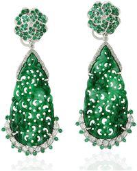 Artisan 18k White Gold Jade Carving Dangle Earrings Diamond Emerald Gemstone Jewellery - Green