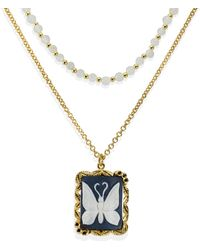 Vintouch Italy Butterfly Cameo & Moonstone Layered Necklace - Black
