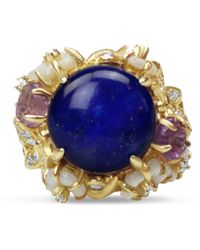 Bellus Domina Gold Plated Lapis Lazuli Cocktail Ring - Blue