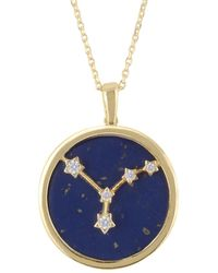 LÁTELITA London Zodiac Lapis Lazuli Gemstone Star Constellation Pendant Necklace Gold Cancer - Metallic