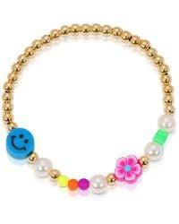 Essentials Jewels Smiley Face Gold Bead Bracelet - Metallic