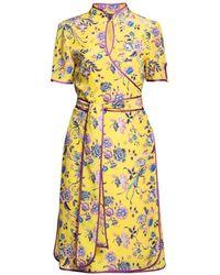 Rumour London Akiko Kimono-style Silk Wrap Dress With Oriental Print In Yellow