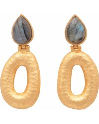 Carousel Jewels | Matte Gold Finish Labradorite Earrings | Lyst