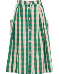 Emily and Fin Viola Botanical Plaid Skirt - Green