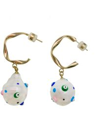 Farra Baroque Pearl Decorated With Turkish Evil Eyes Earrings - Blue