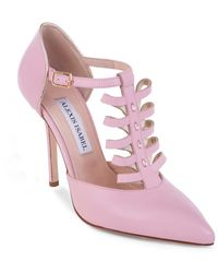 Alexis Isabel Pink Leather T-strap High Heels