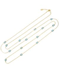 LÁTELITA London Venice 120cm Long Chain Necklace Gold Blue Topaz - Metallic