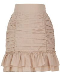 Nocturne Ruched Mini Skirt - Brown