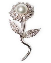 Ri Noor Pearl Flower Brooch - White