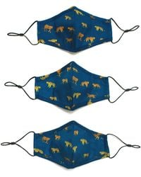 Jessie Zhao New York 3 Pack 100% Organic Cotton Face Mask With Filter Pocket Leopards - Blue