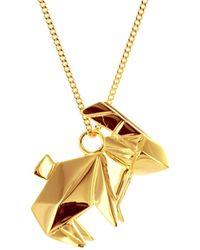 Origami Jewellery - Sterling Silver Gold Plated Rabbit Necklace - Lyst