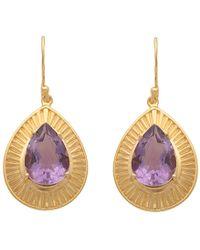 Carousel Jewels - Engraved Gold & Amethyst Teardrop Earrings - Lyst