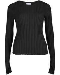 SALANIDA Ribbed Long Sleeve Top Black