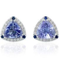 Artisan 18kt White Gold Blue Sapphire Tanzanite Pave Diamond Stud Earring Jewellery