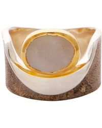 Carousel Jewels Moonstone Gold And Silver Pocket Ring - Metallic