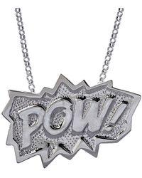 Edge Only Pow Pendant Xl Long In Silver - Metallic