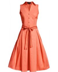 Rumour London - Venice Satin Cotton Belted Flared Dress - Lyst