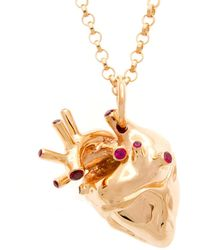 Strange Fruit - Heart Pendant Rose Gold With Rubies - Lyst