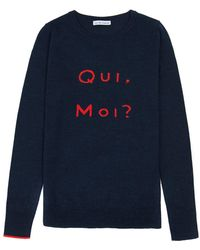 ILLE DE COCOS - Qui Moi Merino Sweater Navy Marl & Red - Lyst