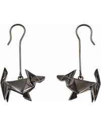 Origami Jewellery Earrings Dog Gun Metal - Black