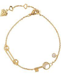Wanderlust + Co Crescent Key Gold Bracelet - Metallic